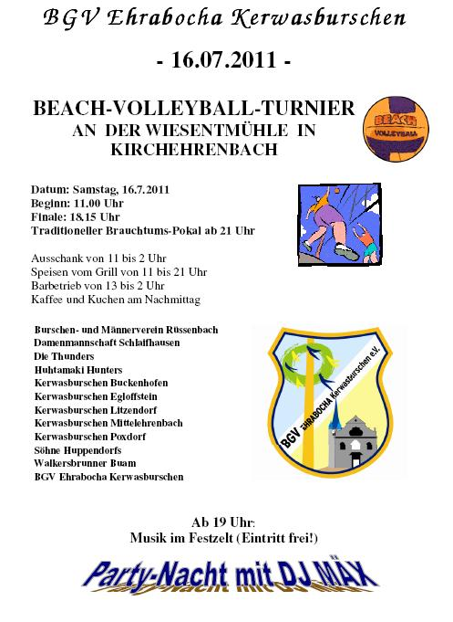 Werbung Beach Volleyball Turnier am 16. Juli 2011
