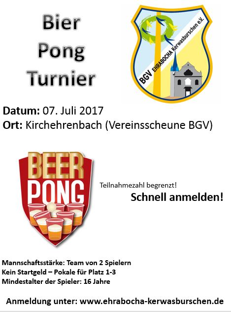 Flyer Bier Pong Turnier am 7.7.2017