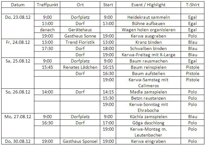 Time table Parish Fair 2012
